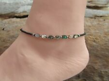 Paua or Abalone Shell and Matte Bronze / Brown Seed Bead Extension Anklet