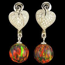 Cz .925 Silver english lock earrings #8 Alducchi Black Rainbow Lab Fire Opal -