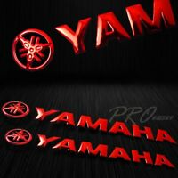 """2x 8"""" x 1.25"""" 3D Emblem Decal Logo+Letter Polished/Gloss Sticker for Yamaha Red"""