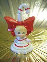 VTG Lefton Christmas Tiny Angel Girl Pixie Elf Candy Cane Bell Figurine