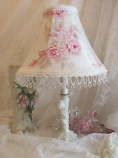 "Custom 8.5 "" LAMP SHADE shabby PINK Rambling Rose Simply chic Bead Lampshade"