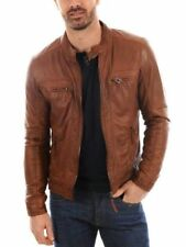 New Men's Genuine Lambskin Leather Jacket TAN Slim Fit Biker Motorcycle Jacket