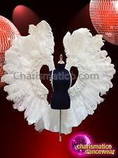 CHARISMATICO Simply Beautiful PureWhite Airy Ostrich Feather Angel Wing Backpack