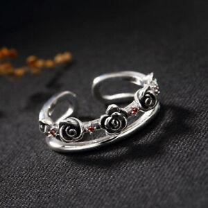 T04 Ring Blüte Rosen rote Zirkonia 925 Sterling Silber größenverstellbar