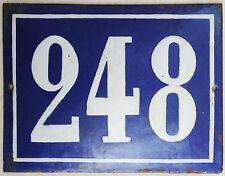 Large old French house number 248 door gate plate plaque enamel steel metal sign