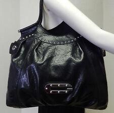 Guess Signature Black Stud Front Shoulder Bag Handbag Purse
