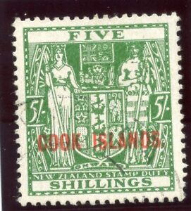Cook Islands 1943 KGVI 5s green (wmk upright) very fine used. SG 132. Sc 125.