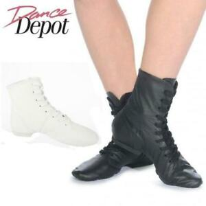 Dance Depot Womens Split Sole Jazz Boots Black / White Women's Mens Ladies Girls