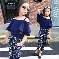 Blouse+Floral Kids Baby Girls Suit  Off Shoulder 2pcs Pants Set Clothes Fashion