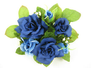 6x Artificial Silk Flowers Royal Blue Rose Candle Rings Wedding Table Decoration