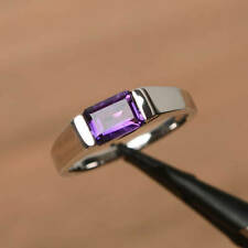 14k Solid White Gold Amethyst Ring, Handmade Ring, Gemstone Gold Ring, Fine Ring