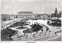 Molfetta: Giardino pubblico. Grande Veduta. Stampa Antica + Passepartout. 1899