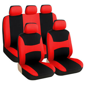 9Pcs Car 5-Seat Seat Red/black Front Rear Polyester Interior Full Cover Set Kit
