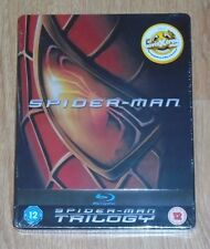 Spider-man trilogy (3 blu-rays) Steelbook. NEW & SEALED (UK).- small dent corner