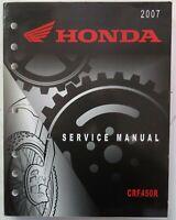 Honda 2007-2008 CRF450R Service Manual Shop Repair 07 08