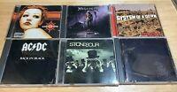 METAL & HARD ROCK 6 CD Lot - Metallica AC/DC Godsmack Megadeth Stone Sour System