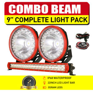 "RED Pair OSRAM 9"" LED Driving Lights + 22"" Light Bar Combo Spot Flood Universal"