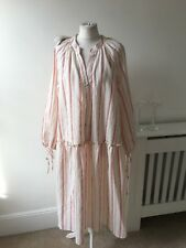 Zara Ivory Red Grey Stripe Cotton Blend Pheasent Midi Smock Dress Sz 16/18