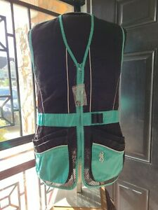 Browning For Her Shooting Vest Women's Sz. Med Mesh teal and black Pockets PE1