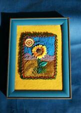 Sunflower Picture, Framed Handmade Multimedia Beaded Colorful Artwork