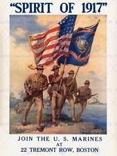GUERRA WWI USA arruolarsi US Marine Corps Flag PISTOLA Soldato Arte Poster Stampa cc6801