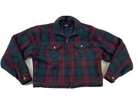 Paris Sport Club red Green Plaid Womens Crop Wool Jacket med lined zip front
