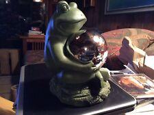 9� Moss Green Resin Frog Gazing Ball Garden Statue