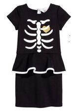 New H&M Halloween Dress With Skeleton Motif Size 4-6Y