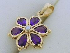 P038 - 9ct SOLID Gold NATURAL Amethyst & Pearl DAISY Pendant Flower Blossom