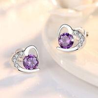 Women 925 Sterling Silver Earrings Stud Amethyst Crystal Heart Purple Earring