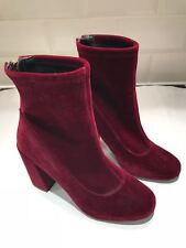 Miss Selfridge Red Velvet Ankle Boots