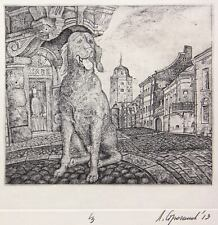 DOG IN THE VIBORG-CITY Original etching by Leonid STROGANOV, Russian Ex Libris A