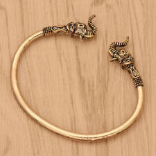 Men Vintage Viking Elepant Open Cuff Silver/Bronze Bracelet Bangle Retro Chain