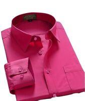 Men Regular Fit Long Sleeve One Pocket Business Dress Shirt Fuchsia