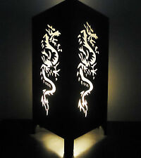 Asian Oriental White Chinese Dragon Bedside Floor or Table Lamp Lighting Decor