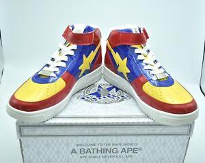 A BATHING APE Bape Sta Mid Red Yellow Blue Black Sneakers US 10 Shose Japan