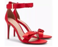 New❤️NEXT❤️Size 8 ANKLE STRAP RED SATIN PARTY SANDALS SHOES (42 EU) High Heels