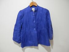 Elevenses Anthropologie Blue Peplum Linen Coat with Bird Lining Size 10