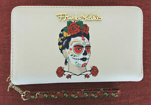 FRIDA KAHLO Painted Face Beige Red Trim  Double Zip Wristlet Secretary Wallet