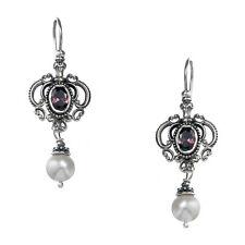 Gerochristo 1412N ~ Sterling Silver & Gemstones - Medieval Dangle Earrings