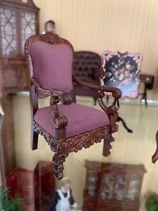 Dollhouse Miniature Reminiscence Purple Velvet Carved Chair-ESTATE--NEW PICS--