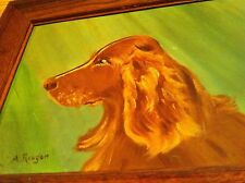 vintage acrylic painting IRISH SETTER Dog Lover A. REAGAN artist Beautiful art
