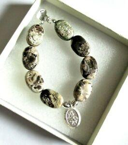 925 Sterling Silver *St Christopher* easyfit  stretch *Gemstone* bracelet