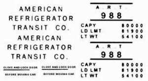 A.R.T. 988 REEFER CAR WATER SLIDE DECAL for American Flyer S Gauge Trains