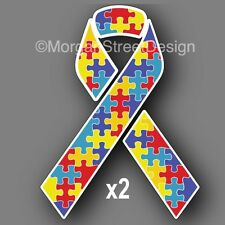 "Set of Two Autism Awareness 3"" Ribbon Vinyl Decal Sticker Car"