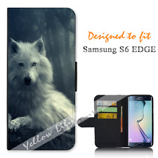 Samsung Galaxy S6 EDGE Wallet Flip Phone Case Cover White Wolf Y00767