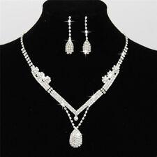 Women Lady Crystal Drop Neclace Rhinestone Wedding Bridal Jewelry Set 3c 4