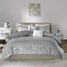 King/Cal King Raina Comforter Set Grey Silver, 5 Piece