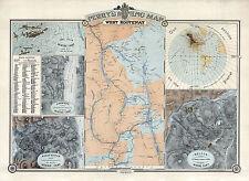 1893 Mining Map West Kootenay British Columbia Vintage History Wall Poster Gold