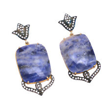 925 Sterling Silver Blue Sapphire CZ Gemstone Gold Plated Handmade Earring